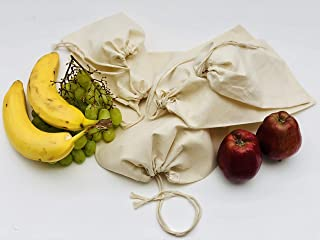 Cotton Muslin Bags 100% Organic Cotton Single Drawstring Premium Quality Eco Friendly Natural Reusable Bags - Pack of 25 (...