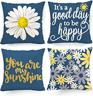 Hexagram Yellow and Blue Pillow Covers 18 x 18 Decorative Navy Blue Throw Pillow Cover Set of 4 for Couch Living Room Sofa...