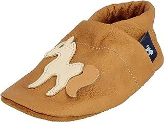 Pantau IT'S A SMALL WORLD Kapcie do raczkowania i skórzane kapcie z koniem, skórzane kapcie dla dzieci i dorosłych, 100% s...