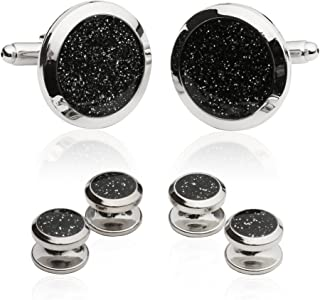 Mens Black Diamond Dust Tuxedo Cufflinks and Studs with Presentation Box