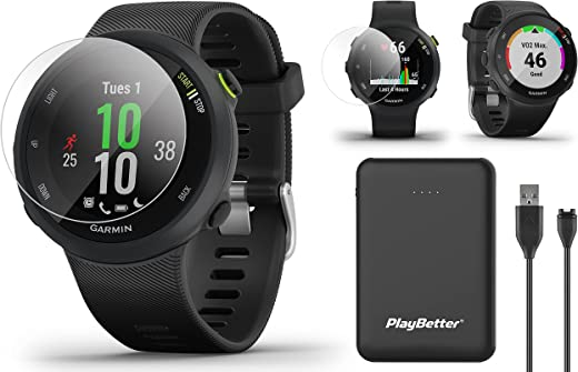 Garmin Forerunner 45 GPS Running Watch Power Bundle   Includes PlayBetter Portable Charger & HD Screen Protectors   Heart Rate Watch for Runners   Pace, Distance, Stress Tracking   Black, 010-02156-05