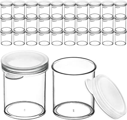 30 Pack Craft Storage Containers for Beads 1oz DecorRack 30 Plastic Mini Containers with Lids Slime Glitter Small Clear Empty Cups with Lids Paint or Seed Storage