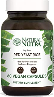 Natural Nutra Red Yeast Rice Extract with Monacolin K, Supplement for Cholesterol and Cardiovascular Support, Citrinin Free, Soy Free, Gluten Free, Recyclable Glass Bottles, 600 mg, 60 Vegan Capsules