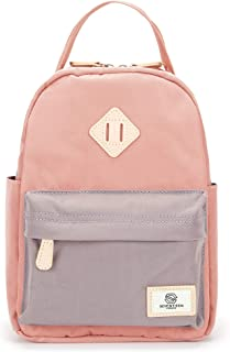 SEVENTEEN LONDON – Mayfair Mini Cute Small Backpack in a Classic Slim Simple Design – Fits Standard iPad/Tablets (Pink & Gray)
