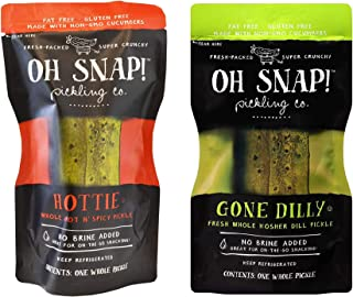 Oh Snap! Kosher Whole Pickles, Hot N' Spicy and Dill, 6pk (3 of each flavor)