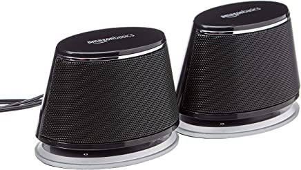 AmazonBasics USB-Powered Computer Speakers with Dynamic Sound | Black