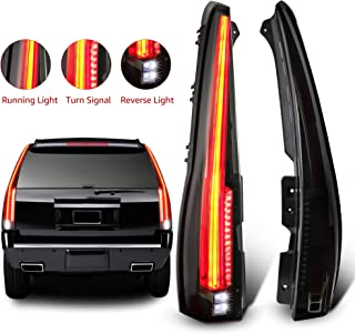 MOSTPLUS LED Tail Lights Rear for Cadillac Escalade 2007-2014 ESV Rear Lamp Assembly(Smoke Tinted)