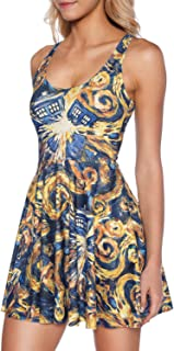 Women's Doctor Who Printed Scoop Reversible Pleated Skater Dress