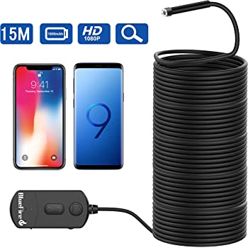 BlueFire Upgraded Super Long 1080P Semi-Rigid Wireless Endoscope, 2 MP HD WiFi Borescope Inspection Camera, Zoomable Focus 1800mAh Battery Snake Camera for Android & iOS Smartphone Tablet (15M)