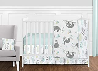 Sweet Jojo Designs Blue and Grey Jungle Sloth Leaf Baby Unisex Boy or Girl Nursery Crib Bedding Set Without Bumper - 11 Pieces - Turquoise, Gray and Green Tropical Botanical Rainforest