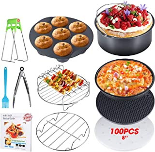 8 Inch Air Fryer Accessories by U-HOOME, Set of 10, XL Air Fryer Accessories Gowise Ninjia Cozyna Philips Air Fryer, Fit a...
