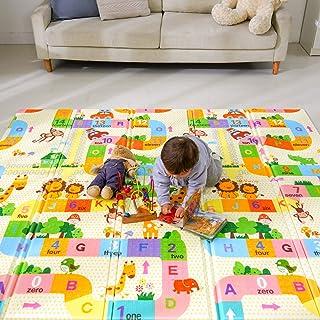 Bammax Tapis de Jeu pour Bébé, Tapis Pliable Imperméable Non Toxique pour Enfant Extra Grand, 197 x 177 x 1,5 cm Tapis Épa...