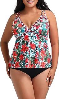 FULLFITALL Women's Plus Size Tankini Swimsuit Bathing Suits with Shorts Swimwear