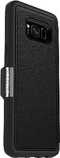 OtterBox Strada Series for Samsung Galaxy S8+ - Retail Packaging - Onyx (Black/Black Leather) (Renewed)