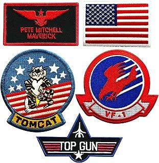 Maverick Pete Mitchell Top Gun Movie Patch (5 PC Set - Iron on sew on)