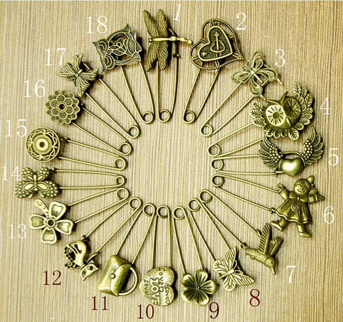 18pcs Set 4 years warranty Bronze Vintage Safety Pins Brooch Hijab Max 48% OFF