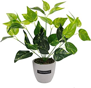 winemana 13.4 inches Artificial Potted Greenery Green Leaf Plants Small Plants for Office Desk Indoor Outdoor Decoration