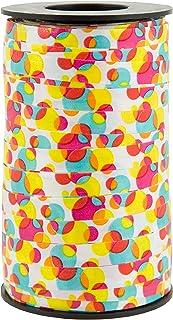 "Berwick Offray 3802001 3/8"" Wide Curl Ribbon, 250 Yards, Multicolor Fun Dot Pattern,White/Multi"