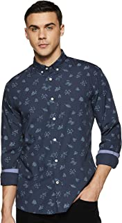 Celio Men's Printed Slim fit Casual Shirt (3596655149296_Navy_M)