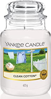 Yankee Candle Large Jar Scented Candle, Clean Cotton, Up to 150 Hours Burn Time