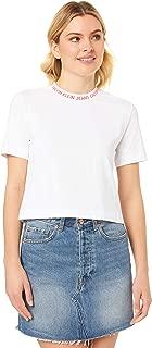 Calvin Klein Jeans Women's Neck Logo Modern Straight Crop Tee, Bright White/Hot Coral, S