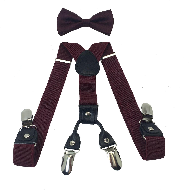 Boys Girls Kids Child Children 4 Clips Special Design Elastic Suspenders & Bow Tie (Burgundy)