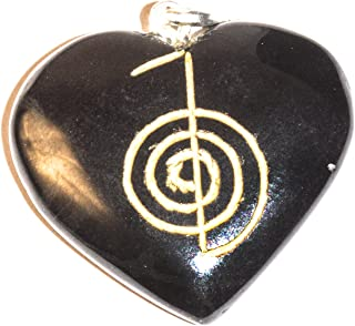 Black Tourmaline Crystal Heart Shape Necklace Pendant with Engraved cho ku rei Power Symbol for Reiki Healing Spiritual Health Wealth Intelligence balancing Jewellery making Gift (SIZE: 1-1.5 Inch)