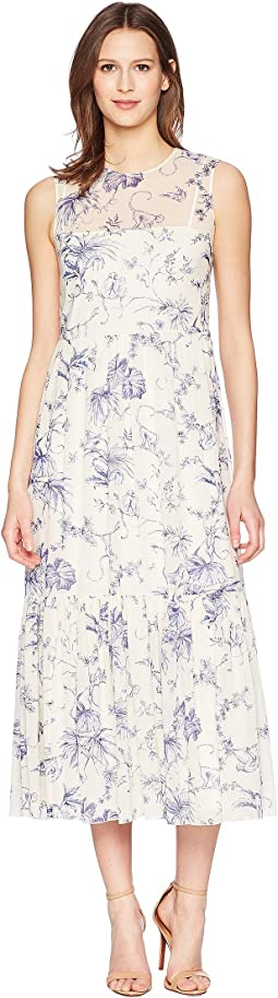 Silk Stretch Muslin Monkey Toile De Jouy Print Dress