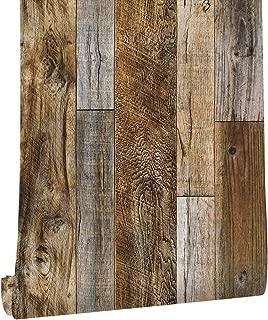 HaokHome 5005 Distressed Faux Wood Plank Wallpaper Rolls Brown/Tan Barnwood Wallpaper Murals Home Kitchen Bathroom Decoration 20.8
