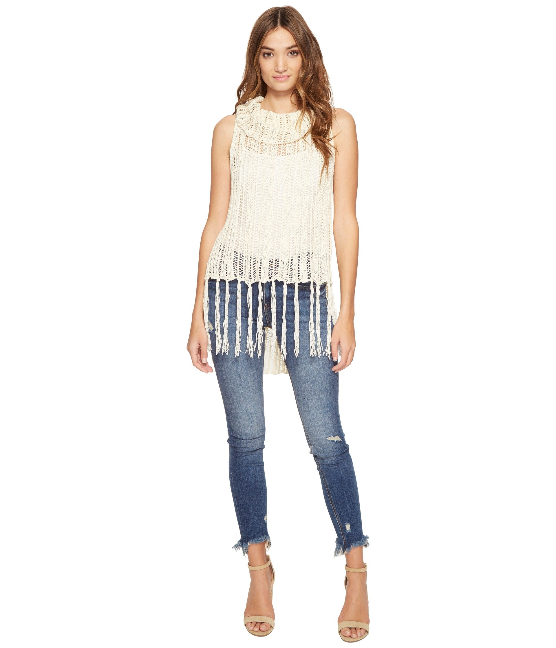 Dres Stripe Stitch Fringed Tank Top