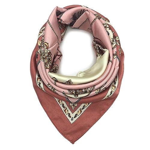 3183e0ea3 YOUR SMILE Silk Like Scarf Women's Fashion Pattern Large Square Satin  Headscarf