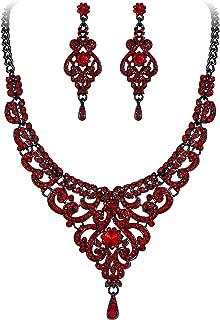 Women's Austrian Crystal Art Deco Bridal Vase Flower Necklace Earrings Set
