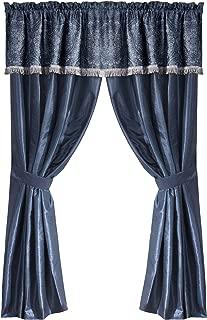 Chezmoi Collection Anastasia 4-Piece Blue Silver Jacquard Medallion Floral Window Curtain Set