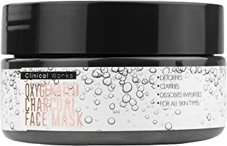 Clinical Works Oxygenated Charcoal Peeling Face Mask, Removes Dirt, Debris, Oils, Impurities and Blackheads, Fights Acne, Detoxifies, Unclogs and Purifies Skin, For all Skin Types, 3.53 Oz