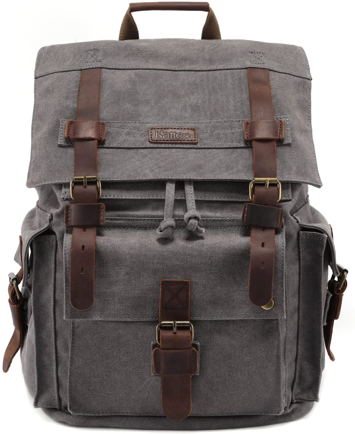 Waxed Canvas Roll Top Rucksack with Leather StrapsHandles Waxed Canvas Messenger-Large Gray and Black Bag Perfect for Traveling