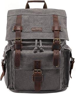 "Kattee Men's Leather Canvas Backpack Large School Bag Travel Rucksack for 17"" Laptop (Grey)"