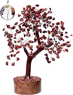 Crystals Healing Stones Seven Chakra Red Jasper 300 Gemstones Tree (Tree of Life Necklace Gift) Feng Shui Bonsai Money Handmade Crystal Quartz Christmas Home Decor Tree Size 10-12 Inch Silver Wire