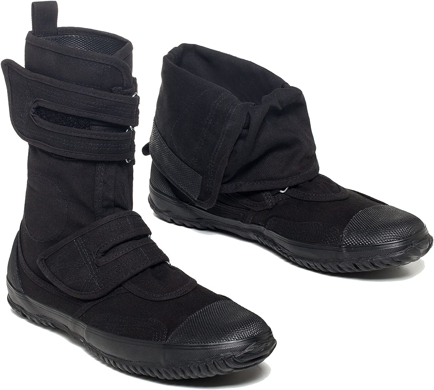 Fugu Maguro Japanese Calf High Industrial Work Boots, Hiking Boots, Fashionable Boots, Foldable, Tactical, Black, for Men