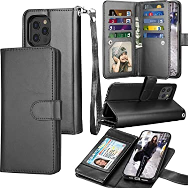 Tekcoo Wallet Case for iPhone 12 Pro Max (6.7 inch) 2020 Luxury ID Cash Credit Card Slots Holder Carrying Pouch Folio Flip PU Leather Cover [Detachable Magnetic Hard Case] Lanyard - Black