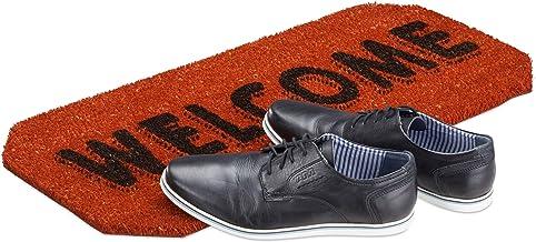 Relaxdays Welcome Coir Doormat, HxWxD: 1.5 x 70 x 33 cm, Nonslip, Welcome, Coconut Fibre, Rubber, Orange