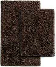 MICRODRY SoftGloss Shiny Absorbent Shag Chenille Memory Foam Bath Mat with GripTex Skid-Resistant Base (2 Pack, Chocolate)