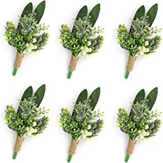 YSUCAU Groom Boutonniere for Men Wedding Set of 6 Boutonniere with Pins Plants Boutineers Groom Bride Flowers for Wedding ...