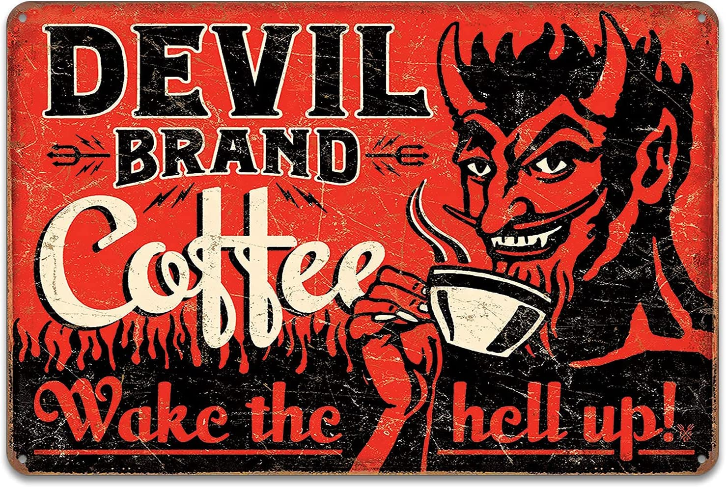 Devil Brand Coffee Wake The Hell Up Retro Wall Decor Vintage Bar Signs Tin Sign 12 X 8 Inch