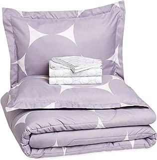 AmazonBasics 7-Piece Bed-In-A-Bag Comforter Bedding Set - Full/Queen, Purple Mod Dot, Microfiber, Ultra-Soft