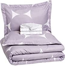 AmazonBasics 7-Piece Bed-in-A-Bag - Full/Queen, Purple Mod Dot (Includes 1 bedsheet, 1 Comforter, 4 Pillowcases, 1 Fitted Sheet)