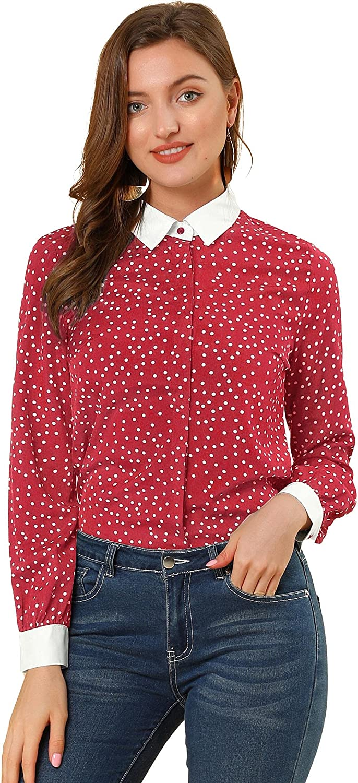 Allegra K Women's Dots Printed Point Collar Button Down Shirt Blouse