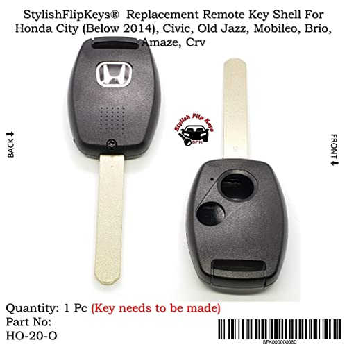 Sfk Replacement Remote Key Shell For Honda City (Below 2014) / Civic / Old Jazz / Mobileo / Brio / Amaze / Crv (For 2 Button Key)