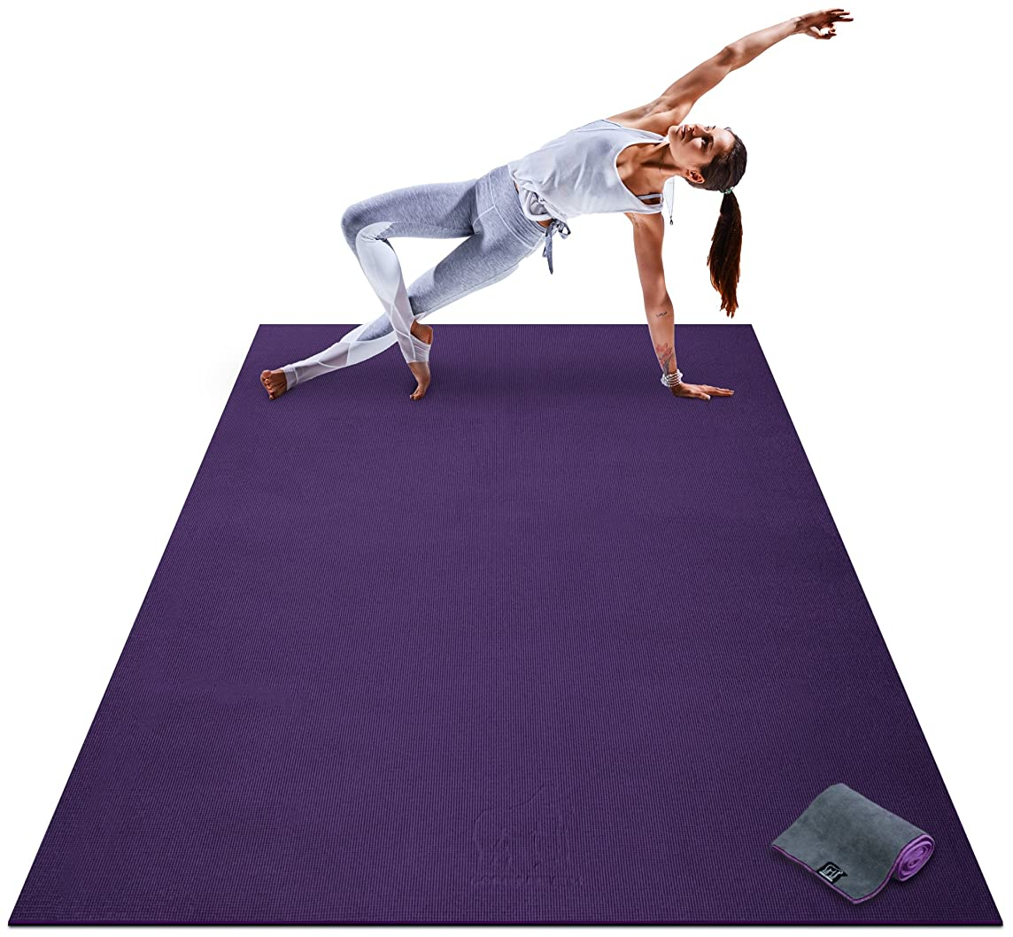Premium Large Yoga Mat - 7' x 5' x 8mm Extra Thick, Ultra Comfortable, Non-Toxic, Non-Slip, Barefoot Exercise Mat - Yoga, Stretching, Cardio Workout Mats for Home Gym Flooring (84