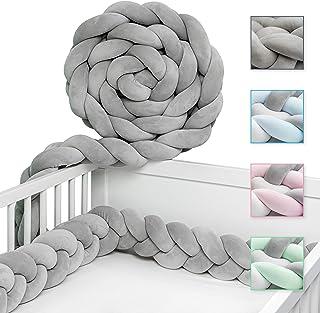 JAKOR Bettschlange geflochten 2M - geprüfte Laborqualität - Bettumrandung geflochten inkl. Wäschenetz - Babybettumrandung - Bettumrandung Babybett – Bettschlange 200 cm Grau
