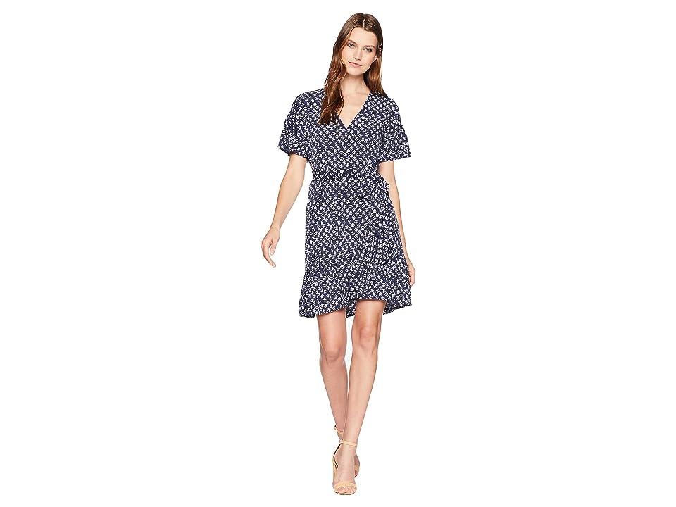 MICHAEL Michael Kors Mini Wrap Dress Flutter Sleeve (True Navy/White) Women